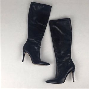 Via Spiga Black Leather Pointy Toe Heeled Boots